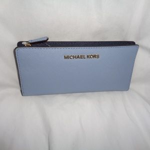 MICHAEL KORS JET SET LARGE CARD CASE CARRYALL BLUE